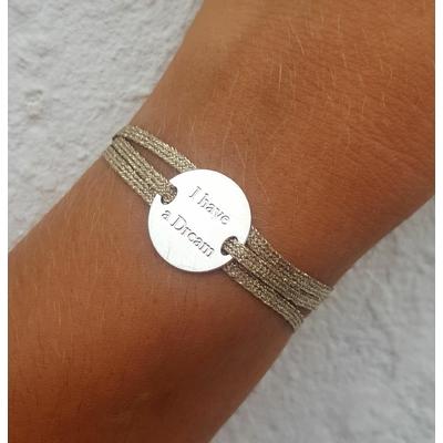 bracelet médaille I HAVE A DREAM argent 3 brins argent clair LA BELLE SIMONE