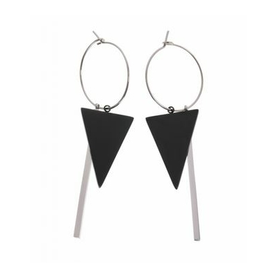 Boucles d'oreilles créoles triangle noir tige argent acier inoxydable Mile Mila