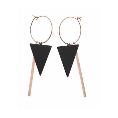 Boucles d'oreilles créoles triangle noir tige or rose acier inoxydable Mile Mila