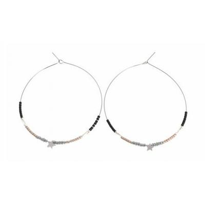 Boucles d'oreilles créoles perles grises argent étoile H5.5cm L5.5cm acier inoxydable Mile Mila