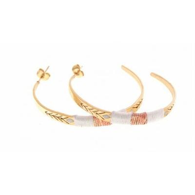 Boucles d'oreilles créoles fils blancs flèche doré acier inoxydable Mile Mila