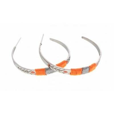Boucles d'oreilles créoles fils orange flèche argent acier inoxydable Mile Mila