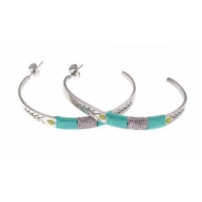 Boucles d'oreilles créoles fils turquoise flèche argent acier inoxydable Mile Mila