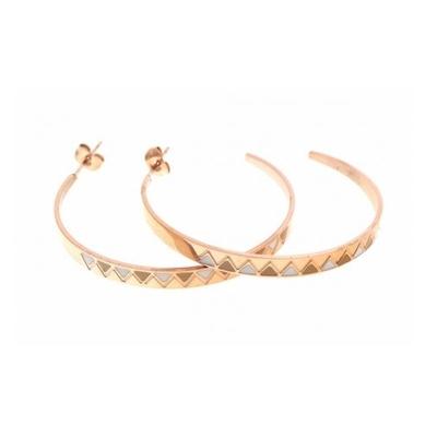 Boucles d'oreilles créoles blanc multi triangles doré acier inoxydable Mile Mila