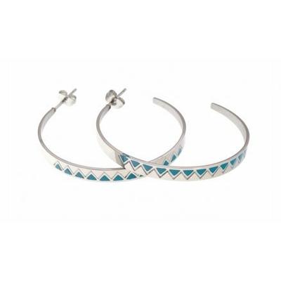 Boucles d'oreilles créoles bleu multi triangles argent acier inoxydable Mile Mila