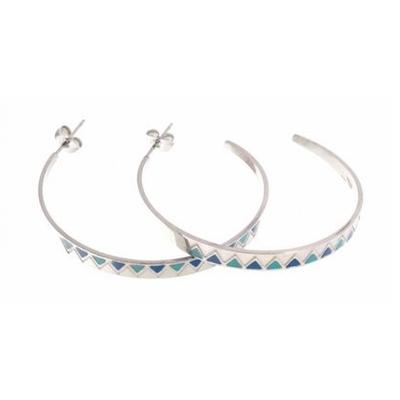 Boucles d'oreilles créoles turquoise multi triangles argent acier inoxydable Mile Mila