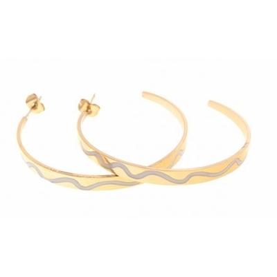 Boucles d'oreilles créoles vague blanche acier inoxydable doré Mile Mila
