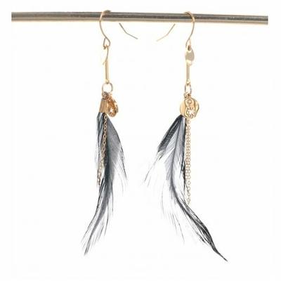 Boucles d'oreilles crochets plume noire et étoile acier inoxydable doré Mile Mila