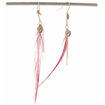Boucles d'oreilles crochets plume rouge et étoile acier inoxydable doré Mile Mila