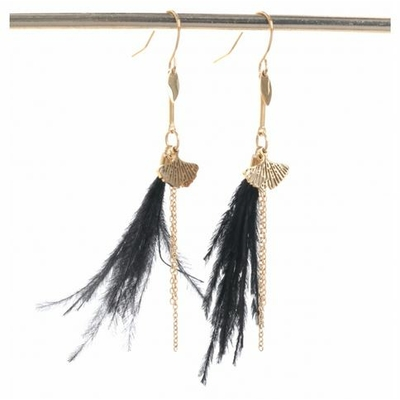 Boucles d'oreilles crochets ginkgo plume noire acier inoxydable doré Mile