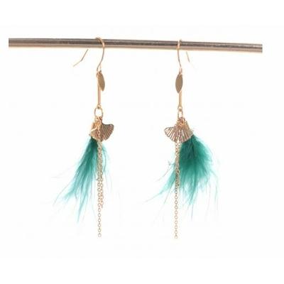 Boucles d'oreilles crochets ginkgo plume verte acier inoxydable doré Mile Mila
