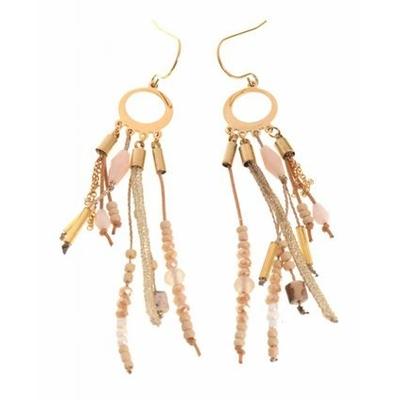 Boucles d'oreilles crochets anneau perles beige chaines acier inoxydable doré Mile Mila