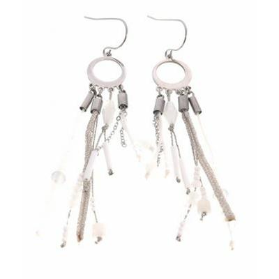 Boucles d'oreilles crochets anneau perles blanches chaines acier inoxydable argent Mile Mila