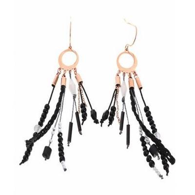 Boucles d'oreilles crochets anneau perles noires chaines acier inoxydable or rose Mile Mila