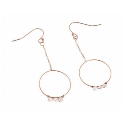 Boucles d'oreilles crochets chaine et cercle perles blanches acier inoxydable or rose Mile Mila