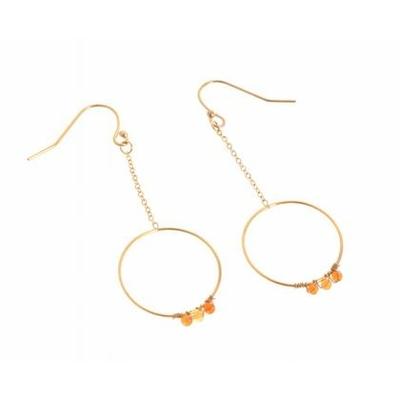 Boucles d'oreilles crochets chaine et cercle perles orange acier inoxydable doré Mile Mila