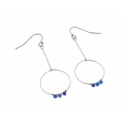 Boucles d'oreilles crochets chaine et cercle perles bleu acier inoxydable argent Mile Mila