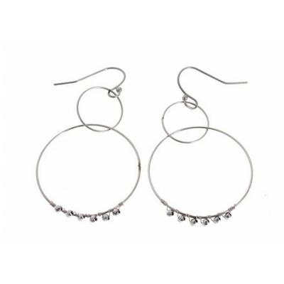 Boucles d'oreilles crochets 2 cercles perles argent acier inoxydable argent Mile Mila
