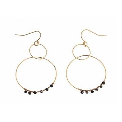 Boucles d'oreilles crochets 2 cercles perles noires acier inoxydable doré Mile Mila