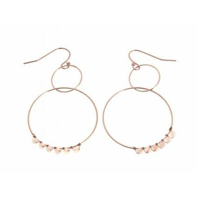 Boucles d'oreilles crochets 2 cercles perles roses acier inoxydable or rose Mile Mila
