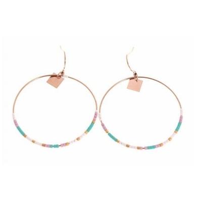 Boucles d'oreilles crochets cercle perles roses acier inoxydable or rose Mile Mila