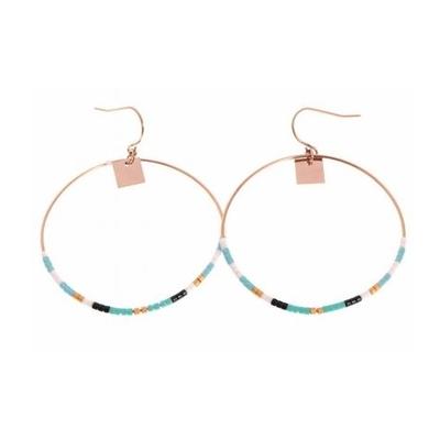 Boucles d'oreilles crochets cercle perles vertes acier inoxydable or rose Mile Mila