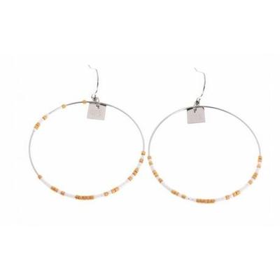 Boucles d'oreilles crochets cercle perles blanches acier inoxydable argent Mile Mila