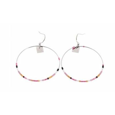 Boucles d'oreilles crochets cercle perles fuchsia acier inoxydable argent Mile Mila