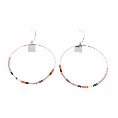 Boucles d'oreilles crochets cercle perles orange acier inoxydable argent Mile Mila
