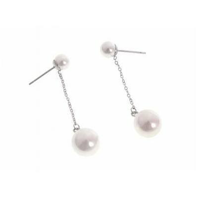 Boucles d'oreilles puces perles blanches chaine argent acier inoxydable argent - Mile Mila