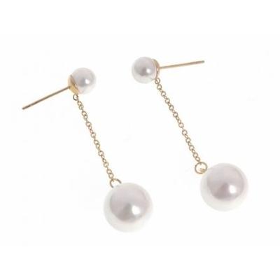 Boucles d'oreilles puces perles blanches chaine doré acier inoxydable doré - Mile Mila