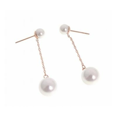 Boucles d'oreilles puces perles blanches chaine or rose acier inoxydable or rose - Mile Mila