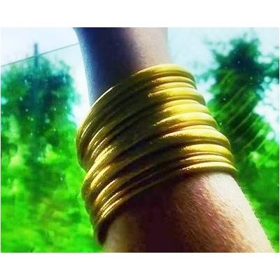 Bracelet ÉPAIS Ø7 jonc temple tibétain bouddhiste poudre d'or et huile dans tube scellé – La Belle Simone Bijoux