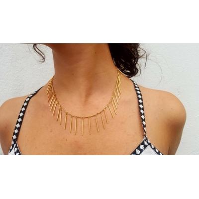 collier baguettes plaqué or 42cm avec chaîne de rallonge LA BELLE SIMONE