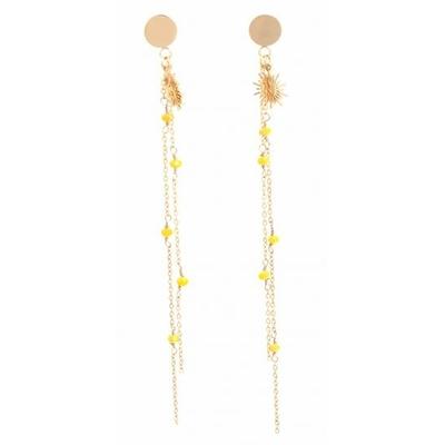 Boucles d'oreilles puces chaine perles jaunes cristal soleil acier inoxydable doré Mile Mila