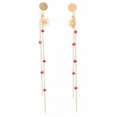 Boucles d'oreilles puces chaine perles rouges cristal soleil acier inoxydable doré Mile Mila