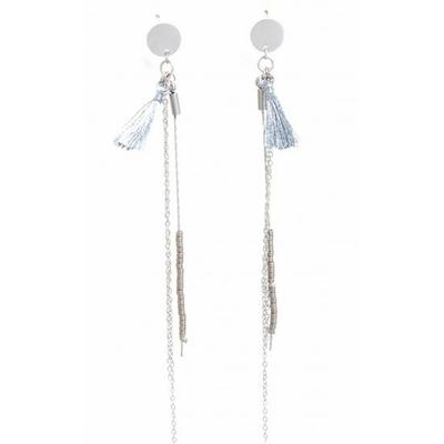 Boucles d'oreilles puces chaine pompon argent acier inoxydable argent - Mile Mila
