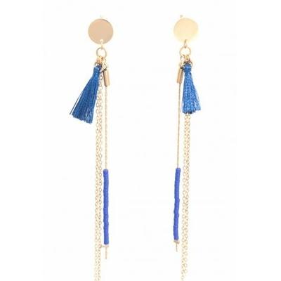 Boucles d'oreilles puces chaine pompon bleu acier inoxydable doré - Mile Mila