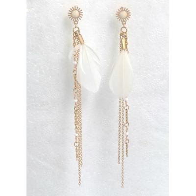 Boucles d'oreilles puces chaines plume fleur blanche acier inoxydable doré - Mile Mila