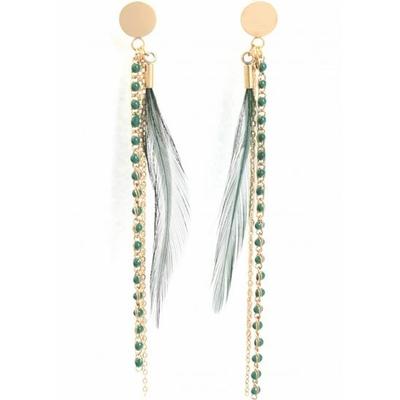 Boucles d'oreilles puces plume verte acier inoxydable doré - Mile Mila