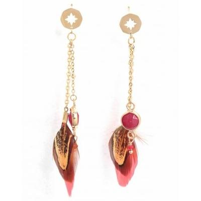 Boucles d'oreilles puces étoile plumes rouges acier inoxydable doré - Mile Mila