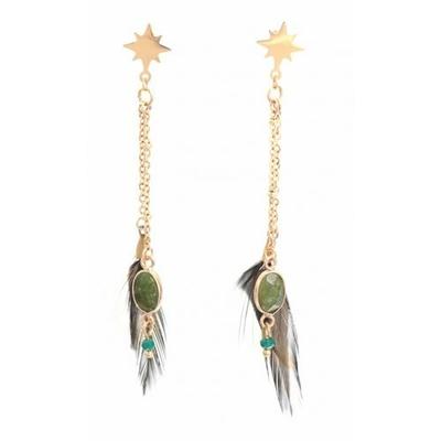 Boucles d'oreilles puces étoile plumes vertes inoxydable doré - Mile Mila