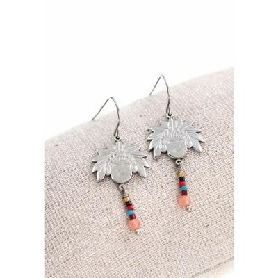 Boucles d'oreilles crochets tête indien et perles acier inoxydable argent - Mile Mila
