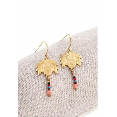 Boucles d'oreilles crochets tête indien et perles acier inoxydable doré - Mile Mila