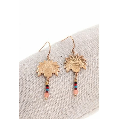 Boucles d'oreilles crochets tête indien et perles acier inoxydable or rose - Mile Mila