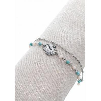 Bracelet double tête indien perles blanches et bleu acier inoxydable argent - Mile Mila