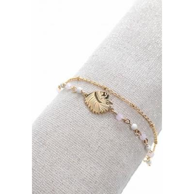Bracelet double tête indien perles blanches acier inoxydable doré - Mile Mila