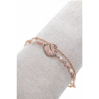 Bracelet double tête indien perles blanches acier inoxydable or rose - Mile Mila