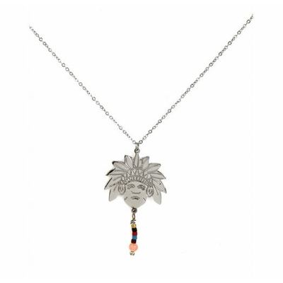 Collier tête indien et perles acier inoxydable argent - Mile Mila
