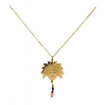 Collier tête indien et perles acier inoxydable doré - Mile Mila